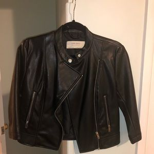 Zara 3/4 sleeve leather jacket